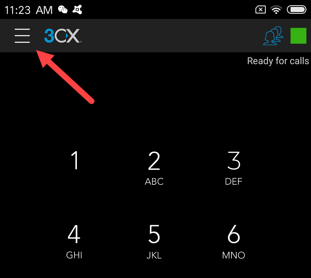 3CX app on Android pointing at the menu button