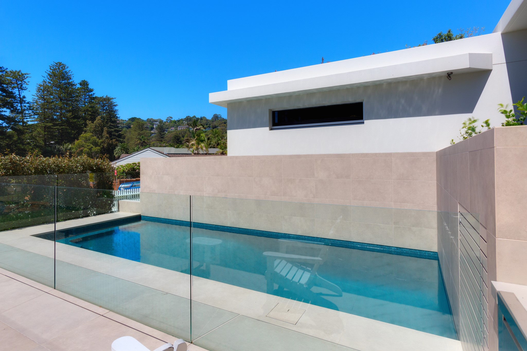 Classic design swimming pool with Glass Fence