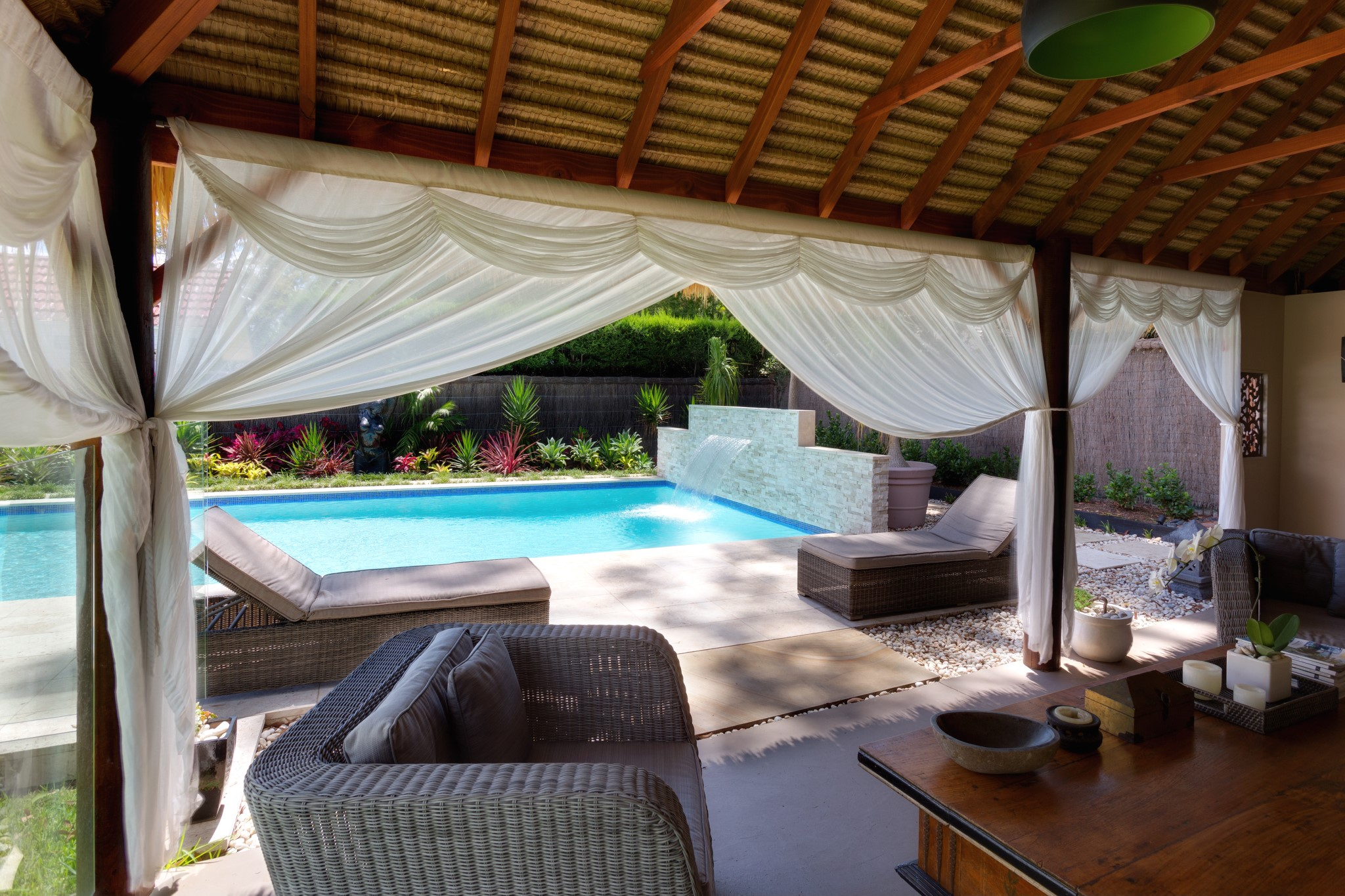 Modern Water Features of lap swimming pool of the luxury house
