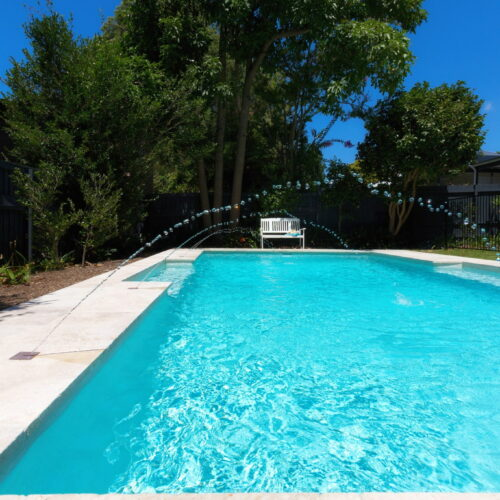 Beautiful NZ Pebblesheen Pool with Deck jets around it in Wahroonga