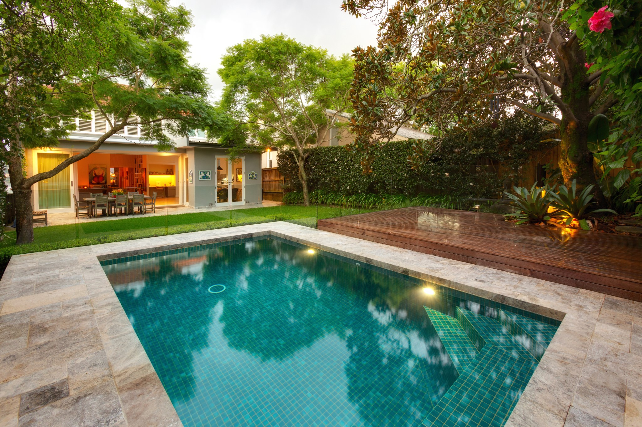 Classic design pool and cozy house