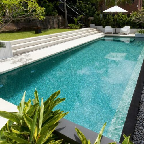 A Glass Mosaic pool surrounded with greenery in Balgowlah