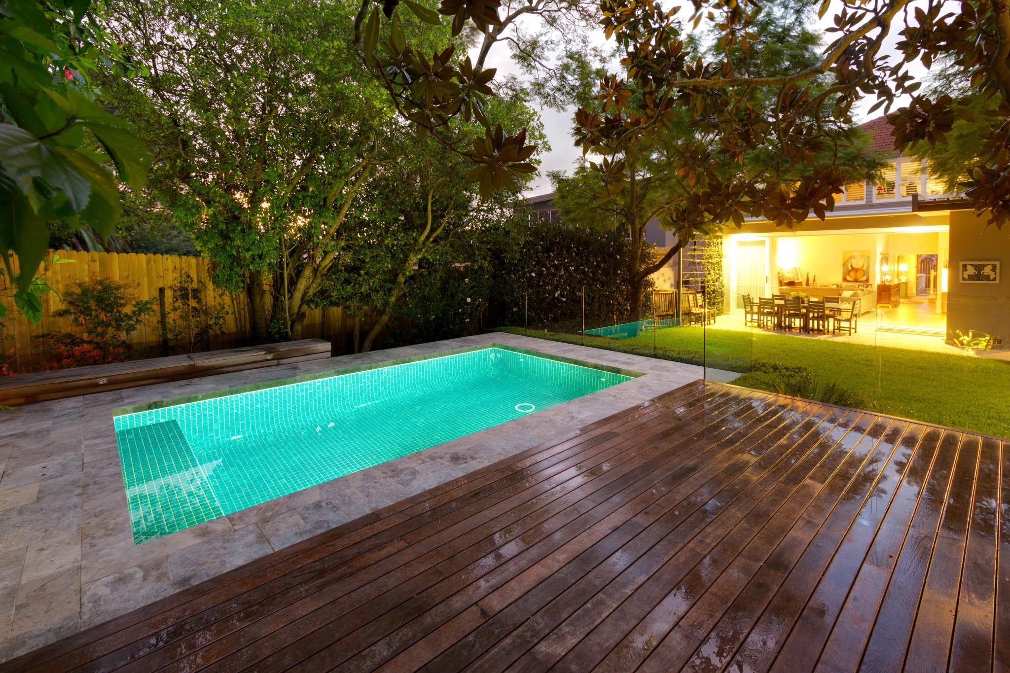 A small classic pool in the backyard in Mosman