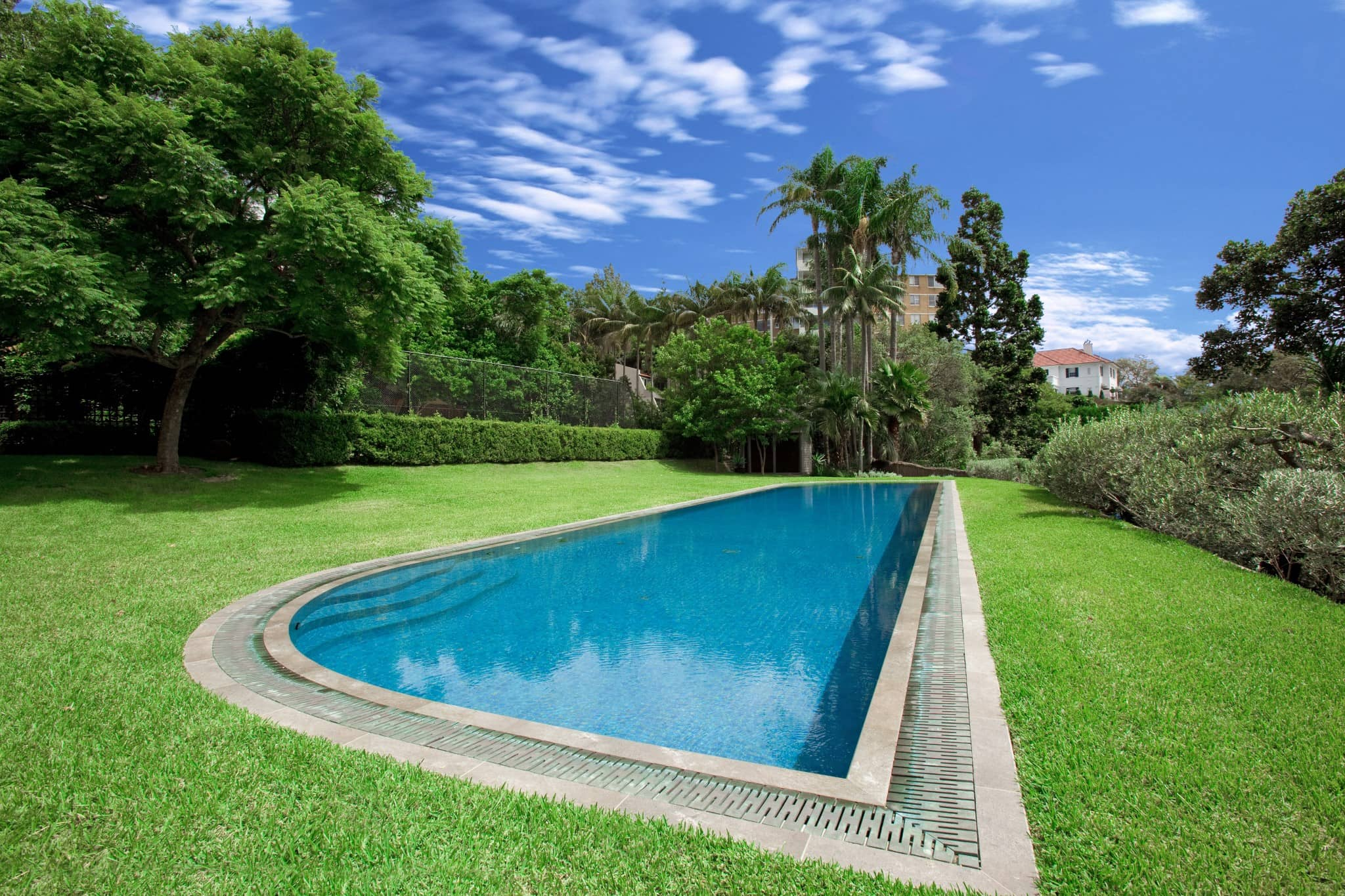 Fully Tiled Ceramic Bronze Wet Deck pool with a beautiful view in Woollahra