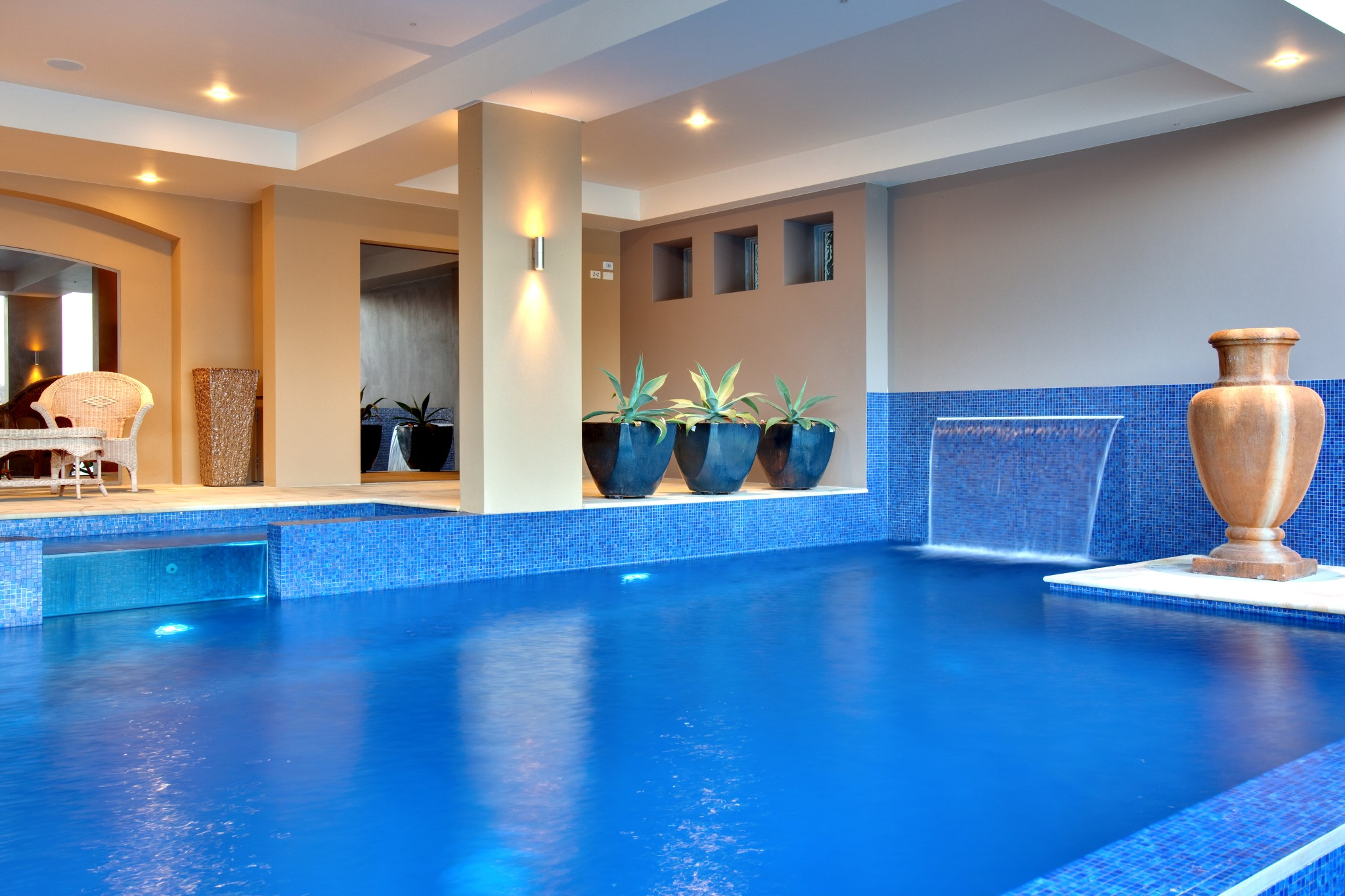 A custom made pool with Spa and sheet fountain in Mosman