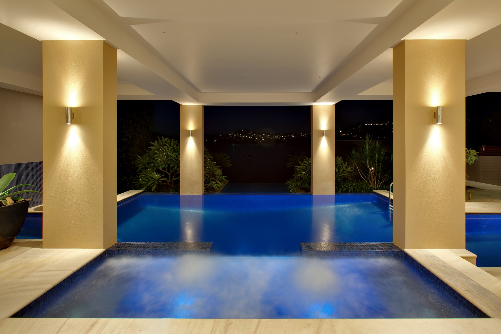 Night view of a Glass Mosaic pool with Spa in Mosman