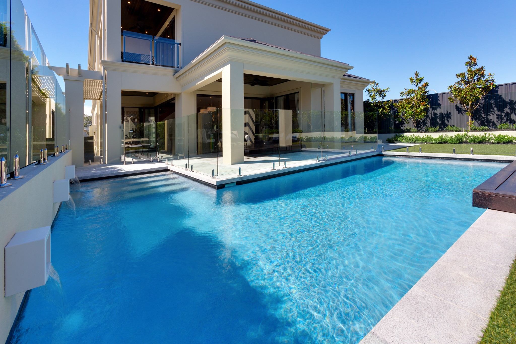 Luxurious private pool built in the backyard of a house in Kellyville