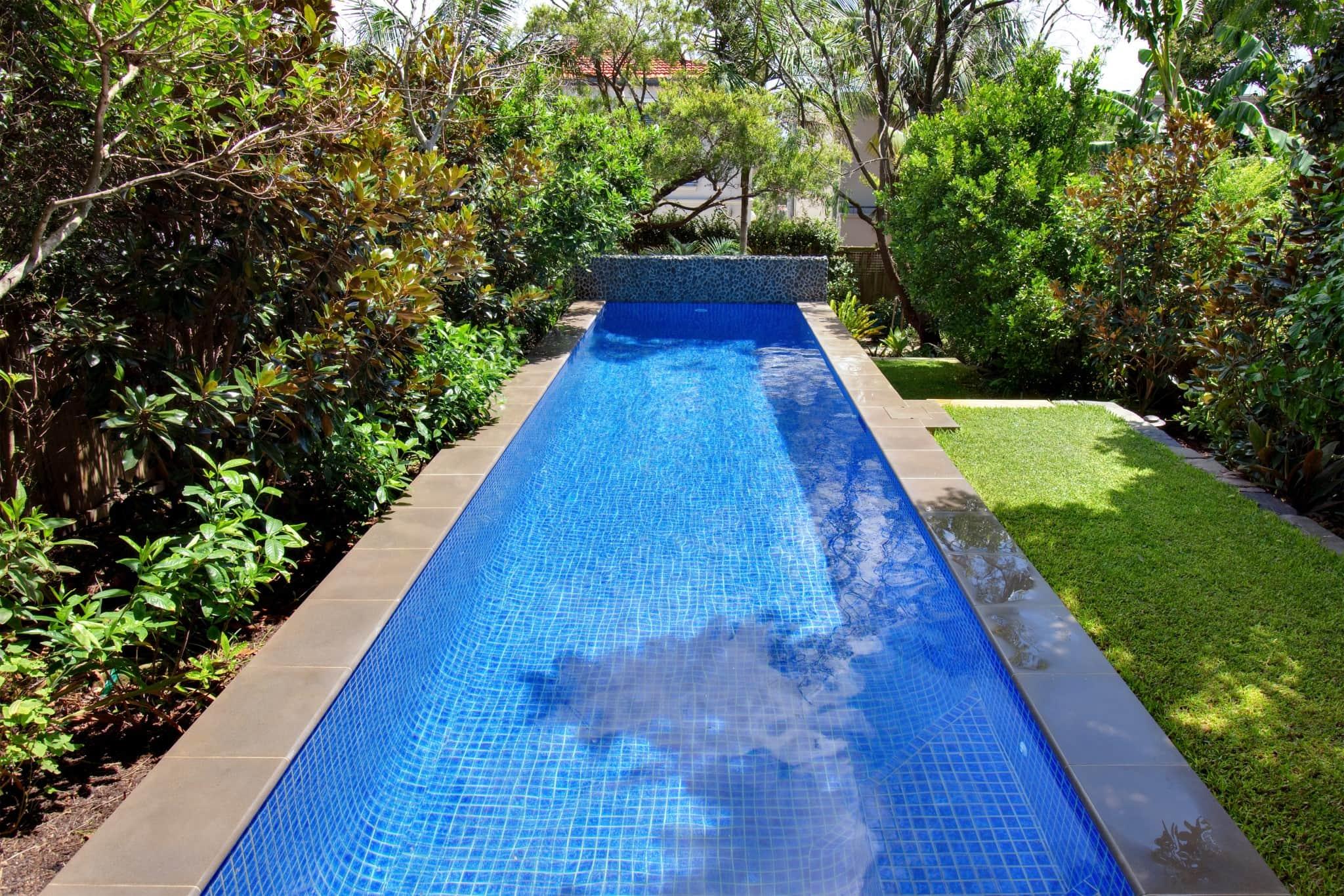 Fully Tiled Glass Mosaic Lap Pool in Mosman