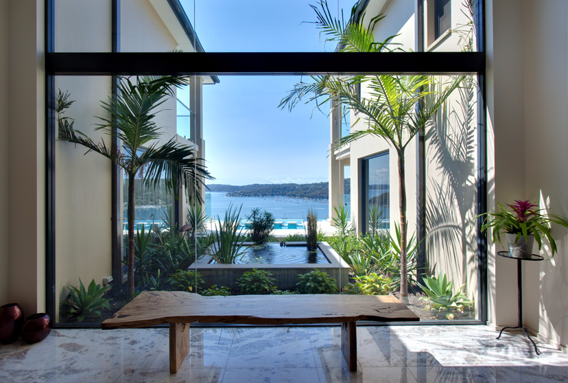 Amazing tropical sea view from a glass window