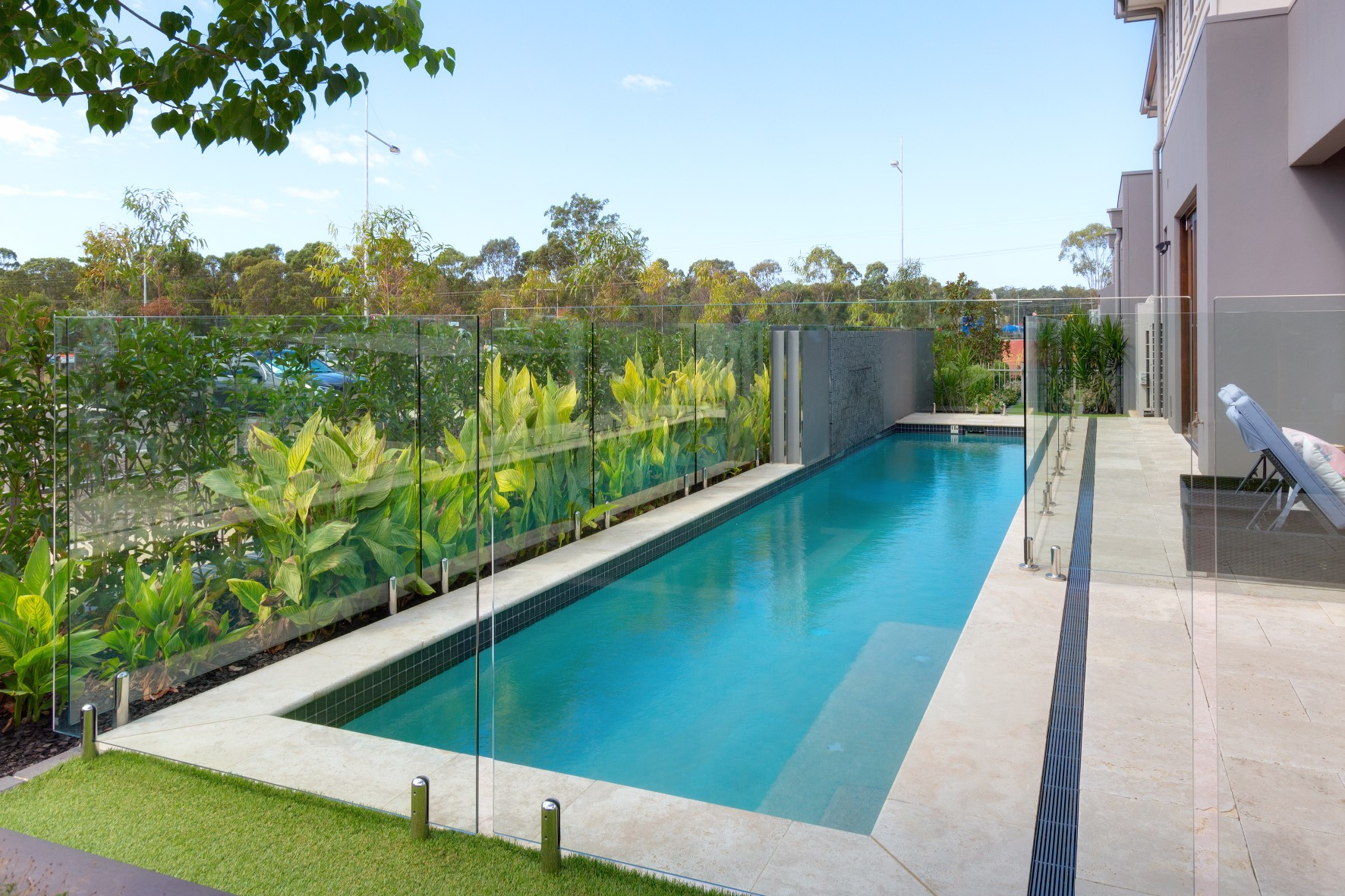 A narrow and long private lap pool in Sydney