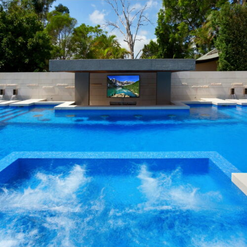 A beautiful luxurious Fully Tiled Ezzari Glass Mosaic pool in Seaforth